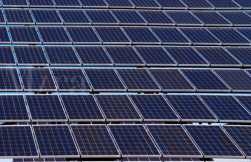 Solar panels to store electricity and power near Mananares in Spain