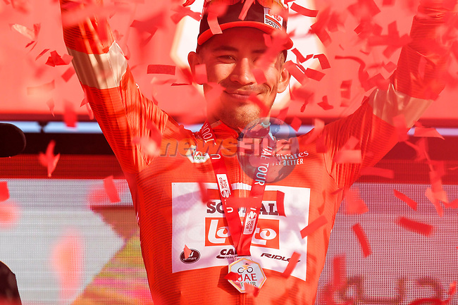 Green Jersey holder Caleb Ewan (AUS) Lotto-Soudal wins Stage 2 the Dubai Municipality Stage and takes over the race leaders Red Jersey of the UAE Tour 2020 running 168km from Hatta to Hatta Dam, Dubai. 24th February 2020.<br /> Picture: LaPresse/Fabio Ferrari | Cyclefile<br /> <br /> All photos usage must carry mandatory copyright credit (© Cyclefile | LaPresse/Fabio Ferrari)