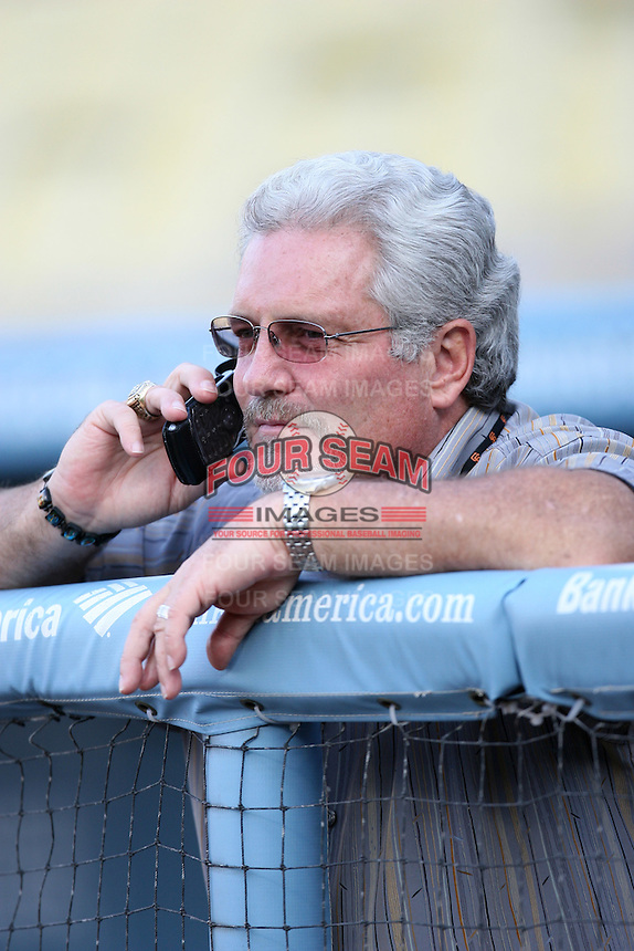 San Francisco Giants General Manager Brian Sabean during batting practice before a game from the 2007 season at Dodger Stadium in Los Angeles, California. (Larry Goren/Four Seam Images)