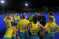 The Hockeyroos huddle during the Sentinel Homes Trans Tasman Series hockey match between the New Zealand Black Sticks Women and the Australian Hockeyroos at Massey University Hockey Turf in Palmerston North, New Zealand on Tuesday, 1 June 2021. Photo: Dave Lintott / lintottphoto.co.nz
