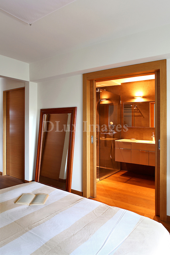 modern contemporary bedroom with bathroom
