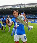 15.05.2021 Rangers v Aberdeen: James Tavernier takes a selfie with the league trophy
