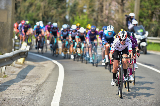 Karol-Ann Canuel (CAN) Team SD Worx on the front of the peloton during the 2021 Flèche-Wallonne Femmes, running 130.2 km from Huy to Huy, Belgium. 21st April 2021.  <br /> Picture: A.S.O./Gautier Demouveaux   Cyclefile<br /> <br /> All photos usage must carry mandatory copyright credit (© Cyclefile   A.S.O./Gautier Demouveaux)