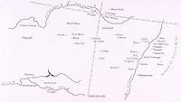 Map: Chaco Canyon, Mesa Verde Taos, Santa Fe.  6/11/96.