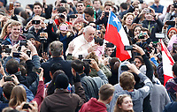 Papa Francesco accarezza una bambina al suo arrivo all'udienza generale del mercoledi' in Piazza San Pietro, Citta' del Vaticano, 28 marzo, 2018.<br /> Pope Francis caresses a child as he arrives to lead his weekly general audience in St. Peter's Square at the Vatican, on March 28, 2018.<br /> UPDATE IMAGES PRESS/Isabella Bonotto<br /> <br /> STRICTLY ONLY FOR EDITORIAL USE