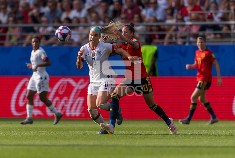 REIMS,  - JUNE 24: Julie Ertz #8 fights for the ball with Jennifer Hermoso #10 during a game between NT v Spain and  at Stade Auguste Delaune on June 24, 2019 in Reims, France.