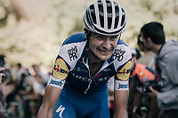 Pieter Serry (BEL/Quickstep Floors) biting his way up the infamous Muro di Sormano (avg 17%/max 25%)<br /> <br /> Il Lombardia 2017<br /> Bergamo to Como (ITA) 247km