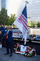 Victims, Family Members, First Responders, and the public commemorate the terror attacks of 9/11 at the National September Memorial on the 20th anniversary of the September 11, 2001 terrorist attack on the World Trade Center and the Pentagon in New York, New York, on Saturday, September 11, 2021.<br /> CAP/MPI/RS<br /> ©RS/MPI/Capital Pictures