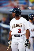 Brevard County Manatees center fielder Corey Ray (2) on deck during a game against the Daytona Tortugas on August 14, 2016 at Space Coast Stadium in Viera, Florida.  Daytona defeated Brevard County 9-3.  (Mike Janes/Four Seam Images)