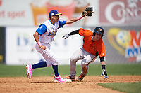 Wilmington Blue Rocks shortstop Nicky Lopez (7) attempts to tag Stuart Levy (14) sliding into second base safely on a stolen base during the first game of a doubleheader against the Frederick Keys on May 14, 2017 at Daniel S. Frawley Stadium in Wilmington, Delaware.  Wilmington defeated Frederick 10-2.  (Mike Janes/Four Seam Images)