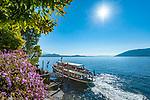 Italy, Piedmont, near Stresa: Isola Madre, the largest of the five Borromean Islands (Isole Borromee) of lake Lago Maggiore, ship landing stage | Italien, Piemont, bei Stresa: mit dem Ausflugsschiff zu den drei grossen Borromaeischen Inseln im Lago Maggiore, hier die Anlegestelle der Isola Madre, die groesste der insgesamt fuenf Borromaeischen Inseln