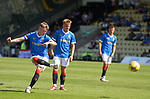 17.07.2021 Rangers B v Bo'ness Utd: Kyle McClelland hits a free kick off the wall