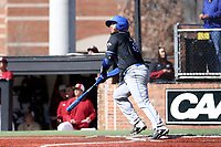ELON, NC - MARCH 1: Brian Fuentes #3 of Indiana State University hits the ball during a game between Indiana State and Elon at Walter C. Latham Park on March 1, 2020 in Elon, North Carolina.