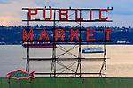 Seattle, Public Market sign, Pike Place Market, Historical District, Washington State ferry, Elliot Bay, Washington State, Pacific Northwest, United States,