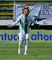 TUNJA-COLOMBIA, 25-10-2020: Jarlan Barera de Atletico Nacional, celebra despues de anotar gol de su equipo, durante partido de la fecha 16 entre Patriotas Boyaca y Atletico Nacional, por la Liga BetPlay DIMAYOR 2020, jugado en el estadio La Independencia de la ciudad de Tunja. / Jarlan Barera of Atletico Nacional, celebrates w after scoring goal of his team, during a match of the 16h date between Patriotas Boyaca and Atletico Nacional, for the BetPlay DIMAYOR League 2020 played at the La Independencia stadium in Tunja city. / Photo: VizzorImage / Macgiver Baron / Cont.