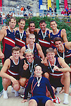 Rowing, FISA Rowing World Championships, Lac Aiguebelette,  France, Europe, United States men's eight, Jamie Koven, Men's single, Coach Mike Teti celebrate, gold medals, 1997, .
