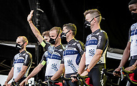 New sponsor, new name, new shirt for Team Qhubeka NextHash at the pre Tour teams presentation of the 108th Tour de France 2021 in Brest at Le Grand Départ <br /> <br /> Victor Campenaerts (BEL/Qhubeka NextHash) greeting the spectators<br /> <br /> ©kramon
