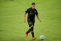 CARSON, CA - OCTOBER 28: Mohamed El-Munir #13 of LAFC moves with the ball during a game between Houston Dynamo and Los Angeles FC at Banc of California Stadium on October 28, 2020 in Carson, California.