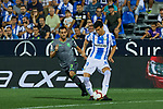 Leganes' Ezequiel Matias Munoz and Real Sociedad's Juan Miguel Jimenez during La Liga match. August 24, 2018. (ALTERPHOTOS/A. Perez Meca)