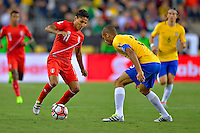 Photo during the match Brasil vs Peru, Corresponding to  Group -B- of the America Cup Centenary 2016 at Gillette Stadium.<br /> <br /> Foto durante al partido Brasil vs Peru, Correspondiente al Grupo -B- de la Copa America Centenario 2016 en el Estadio Gillette en la foto:(i-d) Raul Ruidiaz y Miranda<br /> <br /> <br /> 12/06/2016/MEXSPORT/ISAAC ORTIZ