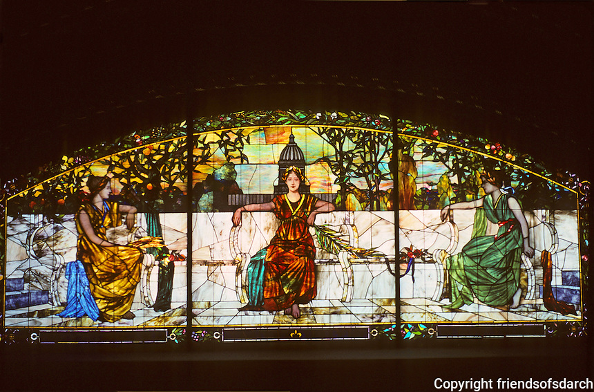 St. Louis: Union Station--Interior. Glass allegorical figures representing San Francisco--St. Louis--New York. Photo '78.