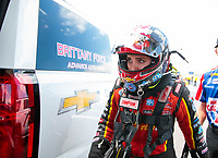 Jul 21, 2019; Morrison, CO, USA; NHRA top fuel driver Brittany Force during the Mile High Nationals at Bandimere Speedway. Mandatory Credit: Mark J. Rebilas-USA TODAY Sports