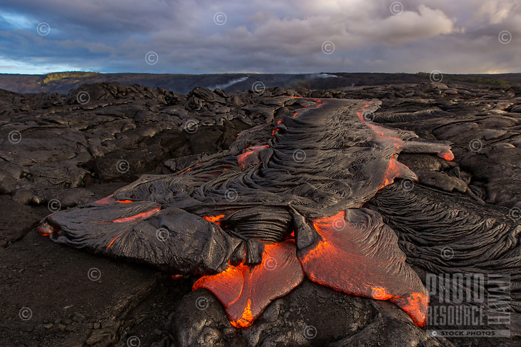 Morning light enhances the ribbon-like details of a fairly big pahoehoe (smooth, unbroken lava) breakout that continues to cool on the coastal plains of Pulama Pali (of Holei Pali), Puna, Hawai'i Island, August 2017.
