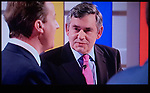 The First Television Election Debate David Cameron Gordon Brown . April 15th 2010. Manchester England (Nick Clegg shoulder to right of image )