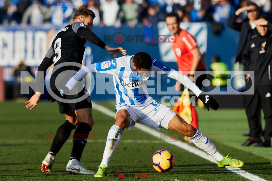 CD Leganes' Youssef En-Nesyri and Sevilla FC's Sergi Gomez during La Liga match between CD Leganes and Sevilla FC at Butarque Stadium in Leganes, Spain. December 23, 2018. (ALTERPHOTOS/A. Perez Meca) /NortEPhoto.com