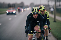 'stached' Michael Hepburn (AUS/Mitchelton-Scott) catching some raindrops while returning to the peloton<br /> <br /> 74th Omloop Het Nieuwsblad 2019 <br /> Gent to Ninove (BEL): 200km<br /> <br /> ©kramon
