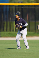 FCL Yankees outfielder Raimfer Salinas (31) during practice before a game against the FCL Tigers West on July 31, 2021 at Tigertown in Lakeland, Florida.  (Mike Janes/Four Seam Images)