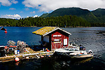Crab Shack in moorage in Bamfield, British Columbia, at the north end of Canada's Pacific Rim National Park. Bamfield's economy is giving way from commerical fishing to tourist activities of fishing, whale watching, beachcombing and hiking.