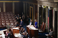 Speaker of the House Nancy Pelosi, D-Calif., presides over the Electoral College vote certification for President-elect Joe Biden, during a joint session of Congress at the U.S. Capitol in Washington, DC on Wednesday, January 6, 2021.  <br /> CAP/MPI/RS<br /> ©RS/MPI/Capital Pictures