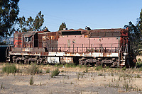Southern Pacific EMD SD9E #4436 a sits idle at the Northwestern Pacific Depot near Schellville, California.