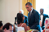 United States President Barack Obama makes an appearance as First Lady Michelle Obama hosts the first ever Kids' State Dinner, at the White House in Washington, D.C., U.S., on Monday, August 20, 2012. The First Lady invited 54 kids, ages 8-12 representing all U.S. states, three territories and the District of Columbia, to a luncheon featuring a selection of healthy recipes from the Healthy Lunchtime Challenge.The Challenge was created in support of First Lady Michelle Obama's Let's Move! initiative, which aims to help solve the problem of childhood obesity within a generation. .Credit: Pete Marovich / Pool via CNP