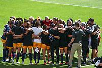 SANDY, UT - SEPTEMBER 26: Utah Royals FC huddle up before a game between OL Reign and Utah Royals FC at Rio Tinto Stadium on September 26, 2020 in Sandy, Utah.