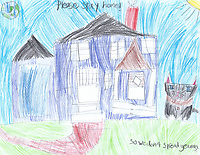 """Please Stay Home"" Drawing by Liesl Sharp, Grade 1, Yarmouth, ME, USA"