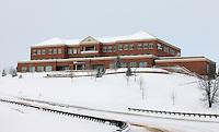 Snow covered martha jefferson hospital in Charlottesville, Va.