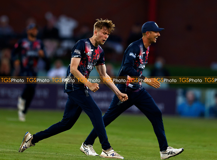 James Logan of Kent celebrates taking the wicket of Sam Northeast during Kent Spitfires vs Hampshire Hawks, Vitality Blast T20 Cricket at The Spitfire Ground on 9th June 2021