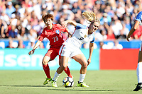 Cary, NC - Sunday October 22, 2017: Lindsey Horan and Jang Chang during an International friendly match between the Women's National teams of the United States (USA) and South Korea (KOR) at Sahlen's Stadium at WakeMed Soccer Park. The U.S. won the game 6-0.