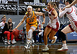 SIOUX FALLS, SD - MARCH 8: Michelle Gaislerova #22 of the North Dakota State Bison drives past Macy Guebert #3 of the South Dakota Coyotes during the Summit League Basketball Tournament at the Sanford Pentagon in Sioux Falls, SD. (Photo by Dave Eggen/Inertia)