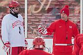 Johnny McDermott (BU - 28), David Quinn (BU - Head Coach) - The Boston University Terriers practiced on the rink at Fenway Park on Friday, January 6, 2017.The Boston University Terriers practiced on the rink at Fenway Park on Friday, January 6, 2017.