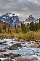 Arrigetch creek, Xanadu, and Arial peak in the distance, Arrigetch Peaks, Gates of the Arctic National park, Alaska.