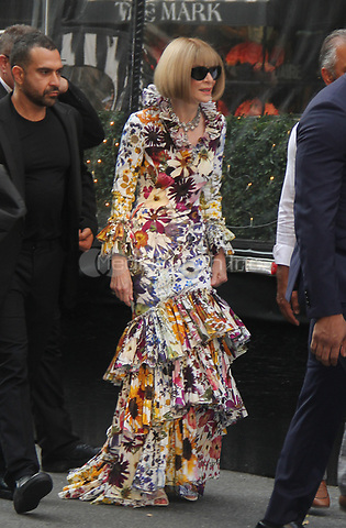 NEW YORK, NY- SEPTEMBER 13: Anna Wintour seen exiting The Mark Hotel on the way to the 2021 Met Gala in New York City on September 13, 2021. Credit: Erik Nielsen/MediaPunch