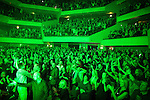 """© Joel Goodman - 07973 332324 . 05/02/2016 . Manchester , UK . Crowd . """" Hacienda Classical """" debut at the Bridgewater Hall . The 70 piece Manchester Camerata and performers including New Order's Peter Hook , Shaun Ryder , Rowetta Idah , Bez and Hacienda DJs Graeme Park and Mike Pickering mixing live compositions . Photo credit : Joel Goodman"""