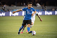 SAN JOSE, CA - MAY 15: Andres Rios #25 of the San Jose Earthquakes passes the ball during a game between San Jose Earthquakes and Portland Timbers at PayPal Park on May 15, 2021 in San Jose, California.