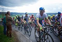 #1/last years winner Simon Gerrans (AUS/Orica-GreenEDGE) up the Côte de Wanne (2200m/7.5%)<br /> <br /> 101th Liège-Bastogne-Liège 2015