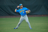 Myrtle Beach Pelicans outfielder Grant Fennell (5) throws the ball in during a Carolina League game against the Potomac Nationals on August 14, 2019 at Northwest Federal Field at Pfitzner Stadium in Woodbridge, Virginia.  Potomac defeated Myrtle Beach 7-0.  (Mike Janes/Four Seam Images)