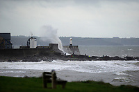 Pictured: Waves hit Porthcawl lighthouse in  Bridgend during Storm Bronagh, Wales, UK. Thursday 20 September 2018<br /> Re: Storm Bronagh will develop across Wales and south-west England on Thursday evening with gusts of up to 65mph.<br /> It comes after Storm Ali claimed two lives and left thousands of homes without power.