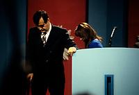 FILE PHOTO -  Lucien Bouchard et sa femme Audrey Best  avant<br /> La defaite du camp du OUI lors du referendum, le 30 Octobre 1995<br /> <br /> PHOTO : Pierre Roussel<br />  - Agence Quebec Presse